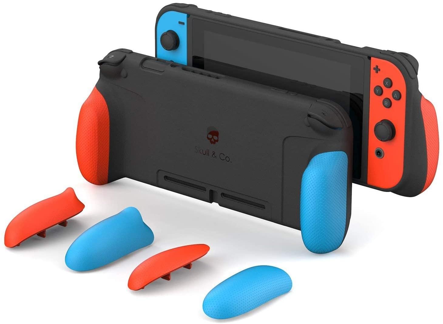Змінні накладки-рукоятки Skull & Co. A Dockable Protective Case with Replaceable Grips Neon Red & Blue для SWITCH Неоновий червоний/неоновий синій