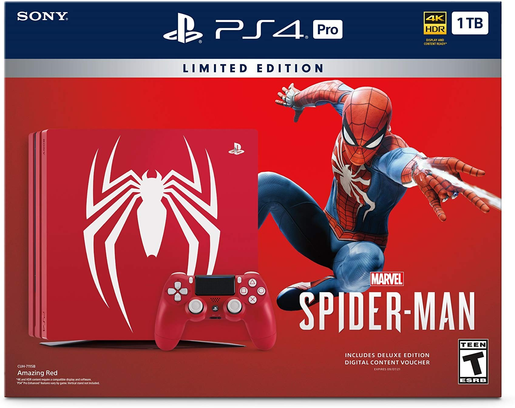 Sony PlayStation 4 Pro 1TB Red Limited Edition Bundle + гра Marvel's Людина-павук | Marvel's Spider-Man