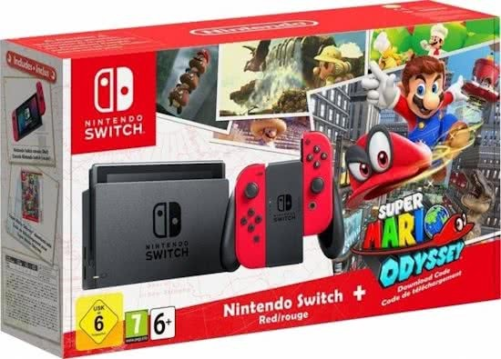 Игровая консоль Nintendo Switch красный + игра Super Mario Odyssey