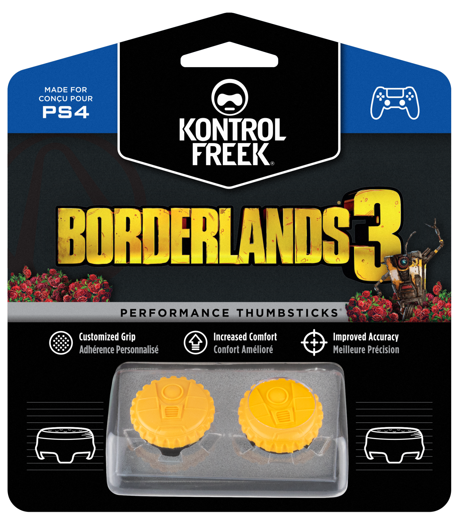 Borderlands 3 Claptrap KontrolFreek | Performance Thumbsticks | Накладки на стіки PS4/PS5
