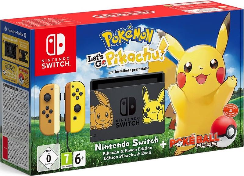Игровая консоль Nintendo Switch (желтый/бежевый) + Poké Ball Plus + Pokemon: Let's Go, Pikachu!
