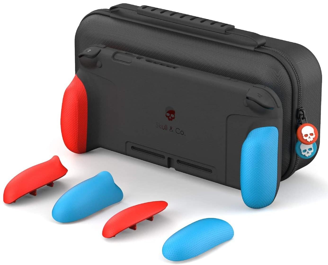 Змінні накладки-рукоятки Skull & Co. Сумка. A Dockable Protective Case with Replaceable Grips Neon Red & Blue для SWITCH Неоново-червоний і Синій