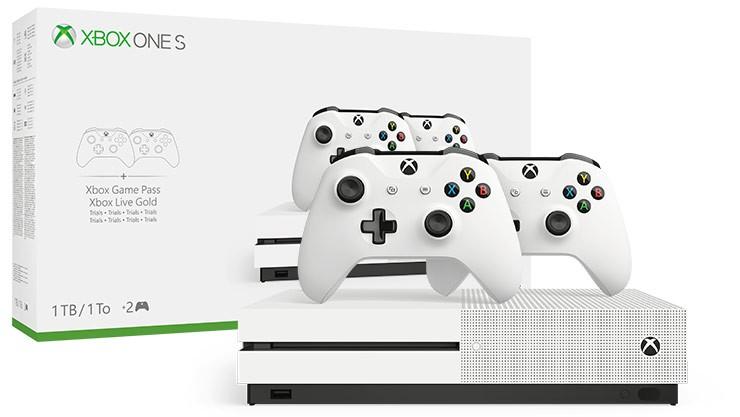 Microsoft Xbox One S 1TB с двумя геймпадами