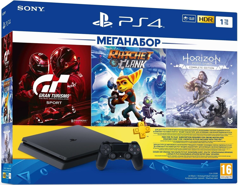 Sony PlayStation 4 Slim 1TB Black Bundle + Gran Turismo Sport + Ratchet&Clank + Horizon Zero Dawn Complete Edition + PSPlus 3 місяці