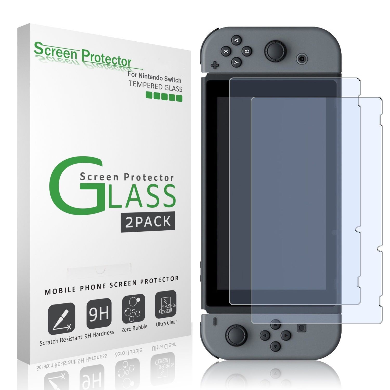 Nintendo Switch amFilm Premium Tempered Glass Screen Protector (2 Pack)